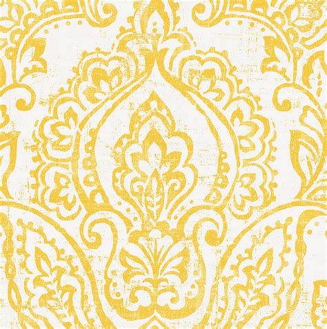 Neutral Upholstery Fabric White And Yellow Vintage Damask Fabric By The Yard