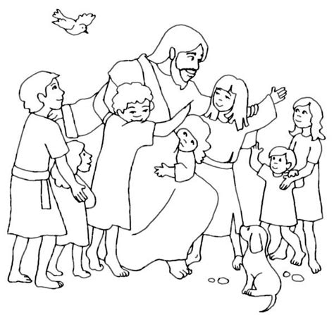Jesus And Children Coloring Pages jesus children and jesus me coloring page