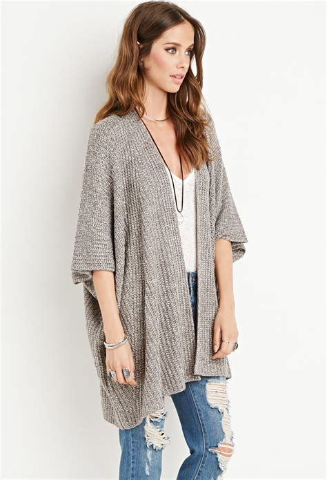 draped open front cardigan forever 21 draped open front cardigan in white grey cream
