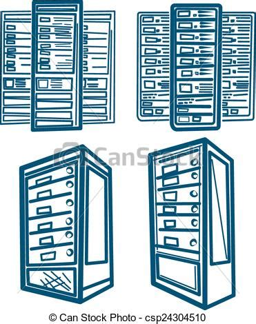 server drawing vector clip of server rack sketch style vector of