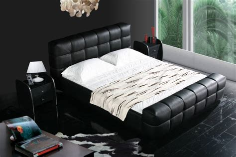 black color real genuine leather bed soft beddouble bed king size bedroom home furniture