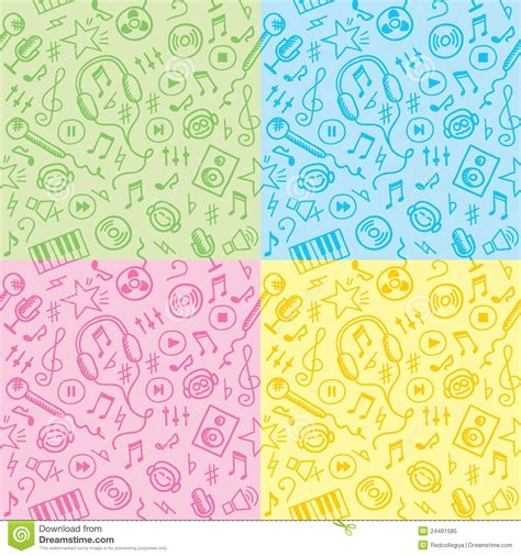 pattern song seamless patterns with music symbols stock vector image
