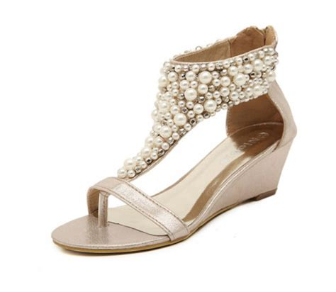 Ivory Wedge Sandals For Wedding by Ivory Gold Pearl Wedding Wedges Sandals Shoes For