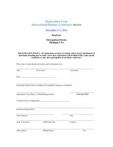 registration form word template template examples