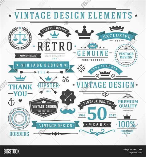 vintage vector design elements retro style typographic vintage vector design elements vector photo bigstock