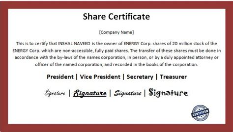 business shareholder registers certificate template word