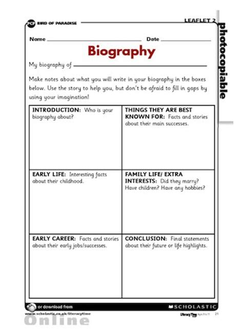 Biography Templates Ks2 | biography planning grid primary ks2 teaching resource