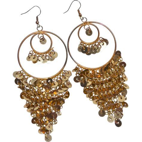 Sequin Earring shimmering 1970s goldtone sequin hoop pierced dangle
