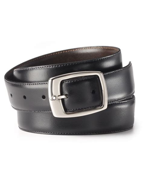 Montblanc Tourbilon Leather Brown Ring Silver Plat Black 1 montblanc classic line reversible belt in black for lyst