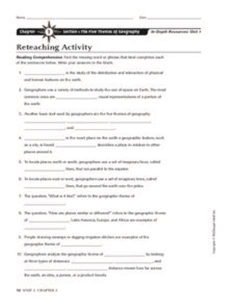 five themes of geography worksheet answers 6th grade worksheets on theme index of wp content
