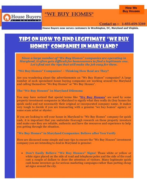 Find In Maryland Tips On How To Find Legitimate We Buy Homes Companies In Maryland