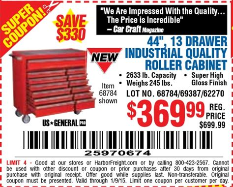 Cabinet Parts Coupon Code harbor freight coupon 44in 13 drawer roller cabinet toolbox lot no 68784 69387 62270 expires 1