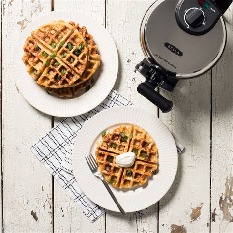bellahousewares recipes waffles bacon cheddar and green mashed potato waffles