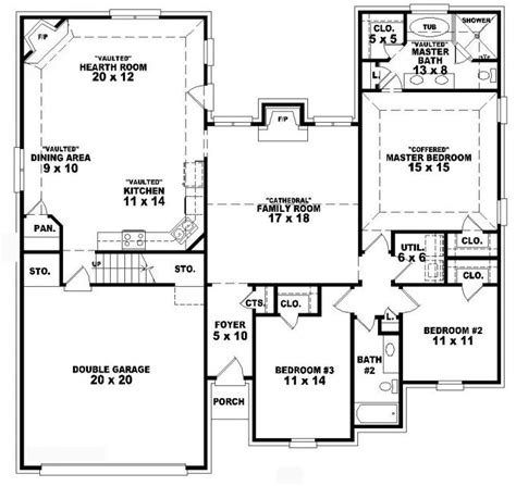 3 Bedroom 2 Bath House Plans by 653836 1 5 Story 3 Bedroom 2 Bath Traditional
