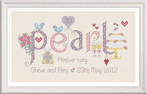 Wedding Anniversary Chart by Pearl 30th Wedding Anniversary Customisable Cross Stitch Chart