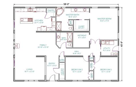 2 bedroom ranch floor plans home design