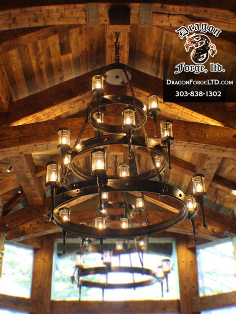 whitefish montana great room hand forged chandeliers