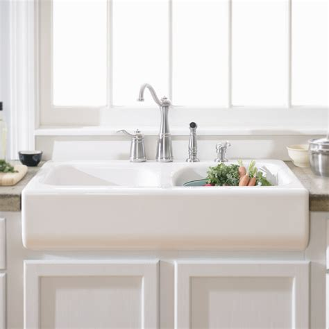 Apron Front Kitchen Sinks Lyons Industries Dks Deluxe Apron Front Dual Basin Acrylic Kitchen Sink Lowe S Canada