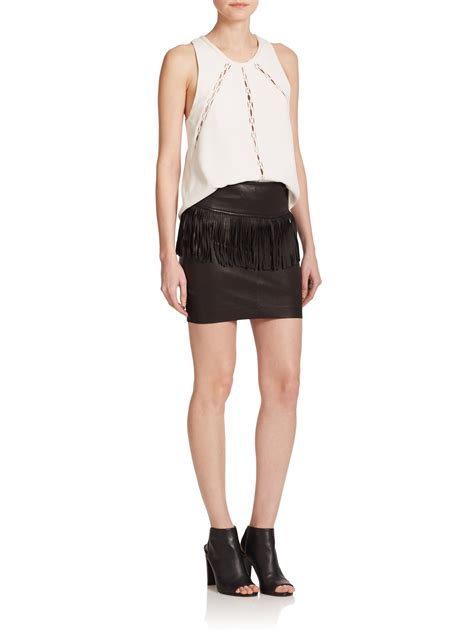 iro gin fringe trimmed leather skirt in black lyst