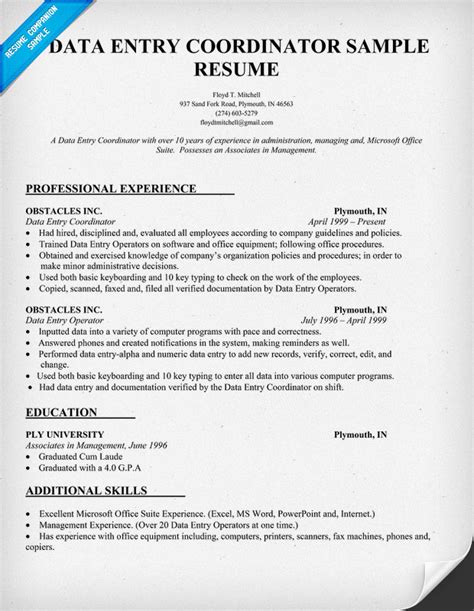 resume objective exles for data entry administration data entry clerk resume exle myperfectresume best data entry resume exle