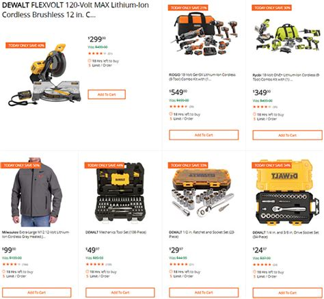 home depot tool deals of the day dewalt ridgid