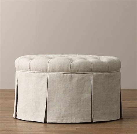 round tufted ottoman with skirt classic round tufted upholstered ottoman