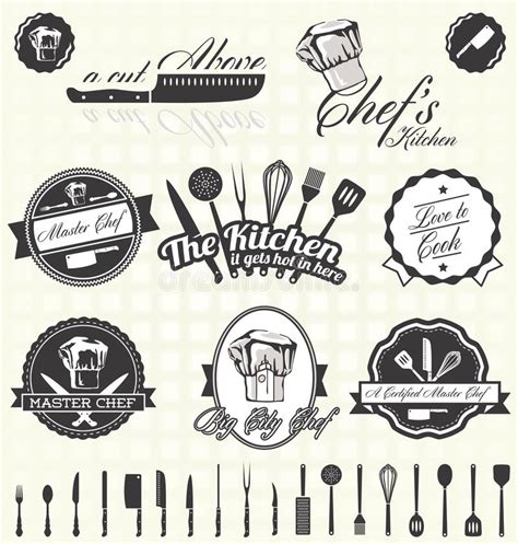 retro vintage style icon collection stock illustration vector set retro master chef labels and icons stock vector