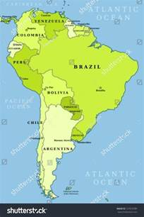 political map of south america with capitals map south america political division countries stock