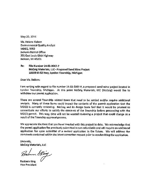Withdrawal Letter From Llc Chelsea Update Chelsea Michigan News