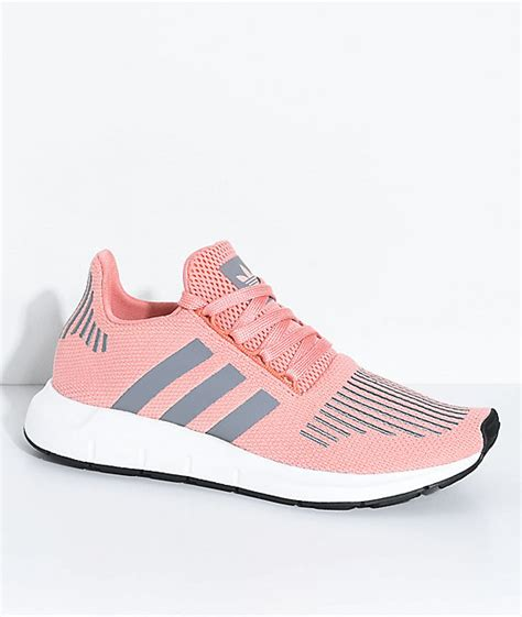 adidas run trace pink grey shoes zumiez