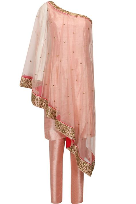 cape designs blush pink dabka and sequins embroidered one shoulder cape and set available only