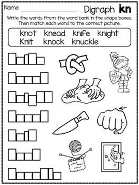 kn pattern words dig into digraphs series kn phonics activities and