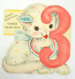 1950s kitten 3 year s birthday card by buckaroobear on etsy
