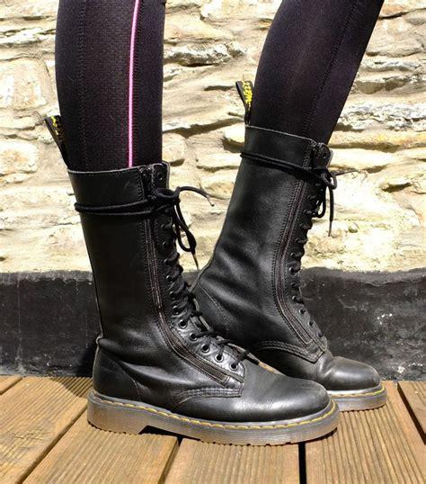 dr martens  twin zip  eyelet calf high black boots