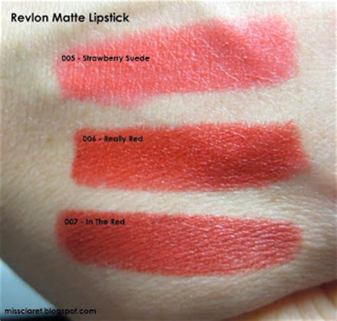 Lipstik Revlon Matte 007 miss claret revlon matte lipstick 005 strawberry suede 006 really 007 in the