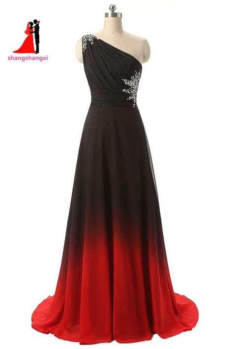 Dress Blackred 16083 2017 New Prom Dress One Shoulder Black Gradient