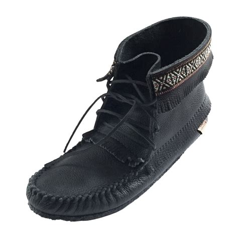 mens indian moccasins boots s ankle high black leather moccasin boots with crepe