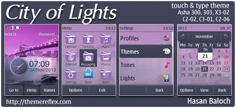 themes reflex nokia c2 02 city of lights theme for nokia asha 202 300 303 x3 02