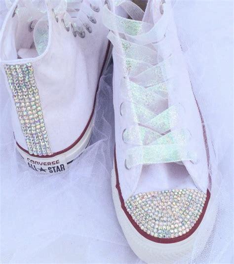 Rhinestone Bedazzled Glitter Converse Bride Wedding Quiceanera Bat Mitzvah Prom Shoes