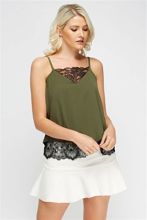 cami best lace insert cami top black or khaki just 163 5
