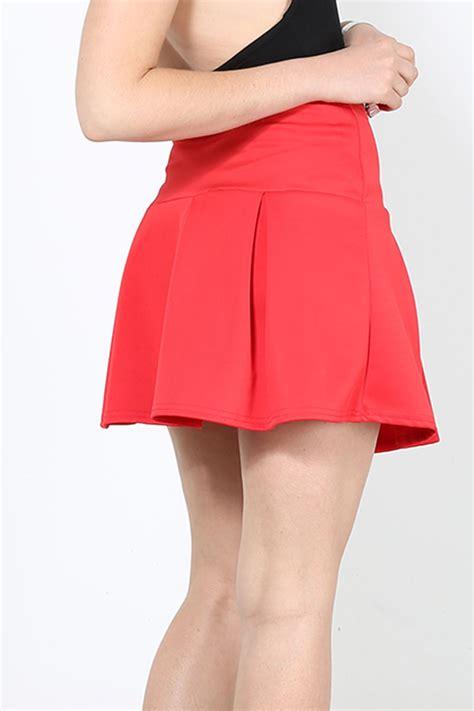Plain Pleated Mini Skirt stretch high waisted skirt plain skater