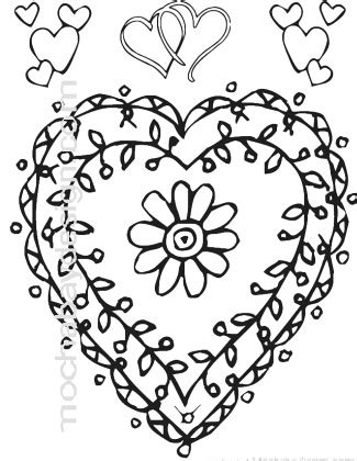 Printable Coloring Pages Hearts With Vines | printable flower vine heart valentine s day coloring page