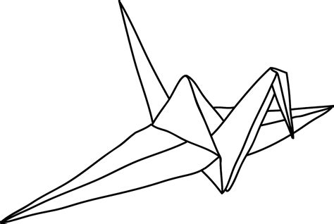 Origami Crane Outline - how to draw paper crane
