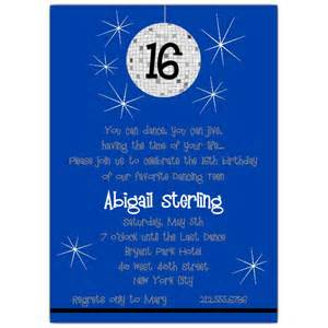 disco blue sweet 16 invitations paperstyle