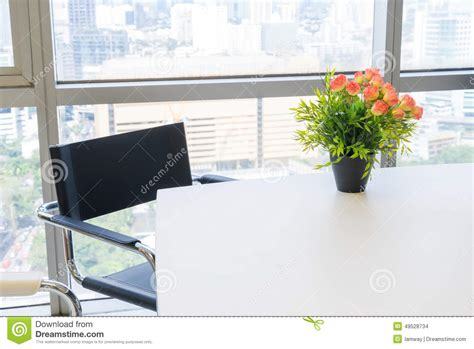 Flowers For Office Desk by Bouquet Of Plastic Flowers Placed On The Desk Stock Photo