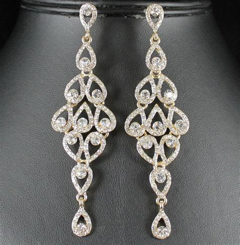 rhinestone earrings drops austrian crystal rhinestone gold chandelier dangle