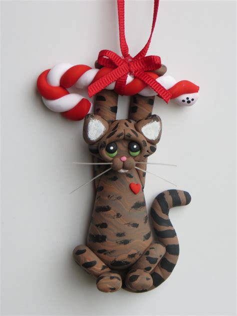 brown tabby cat christmas ornament polymer clay by