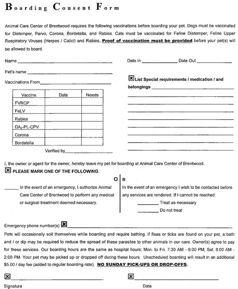 Veterinary Boarding Forms Pictures To Pin On Pinterest Pinsdaddy Boarding Form Template