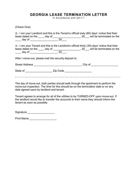 Leasing Letter by Lease Termination Letter Form 30 Days Eforms Free Fillable Forms
