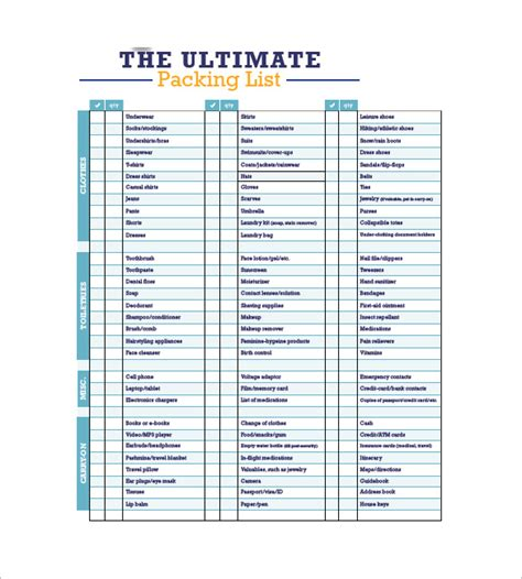 travel list template packing list template 10 free word excel pdf format